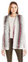 Buffalo David Bitton Women's Furry Hilites Faux Fur Animal Print Vest