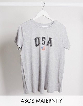 Asos DESIGN Maternity t-shirt with USA print