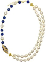 Lapis Freshwater Pearls With Lazuli & Rhinestone Double Strands Necklace