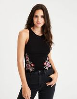 American Eagle Outfitters AE Soft & Sexy Embroidered Hi-Neck Tank