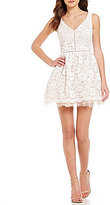 B. Darlin Sleeveless V-Neck Lace Skater Dress