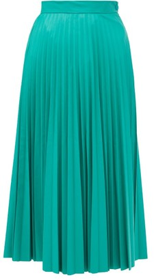 MM6 MAISON MARGIELA Pleated Faux-leather Midi Skirt - Green