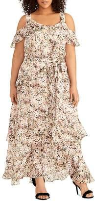 Rachel Roy Plus Luciana Cold-Shoulder Floral Maxi Dress