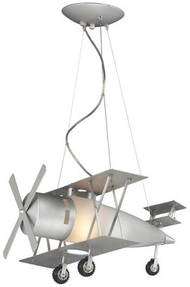 Design Living Airplane Light Fixture With Frosted White Glass, Silver