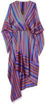 Petar Petrov Asymmetric Wrap-effect Striped Silk-satin Dress - Purple