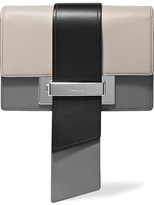 Prada Metal Ribbon Color-block Leather Clutch
