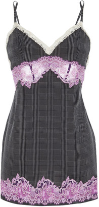 La Perla Lace-trimmed Prince Of Wales Checked Stretch-silk Chemise