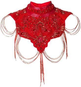 Couture Atu Body beaded cropped top