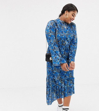 Lost Ink Plus pleated midi dress with tie back detail in bluebell floral print