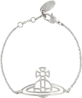 Vivienne Westwood Anglomania Thin Lines Flat Orb Silver Bracelet