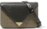 Alexander Wang Prisma Small Croc And Lizard-effect Leather Shoulder Bag - Black