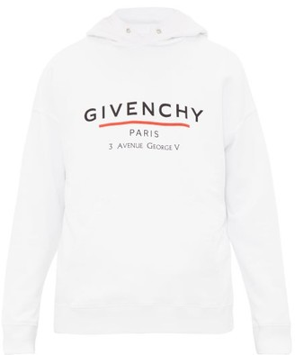Givenchy Logo Print Cotton Hooded Sweatshirt - Mens - White