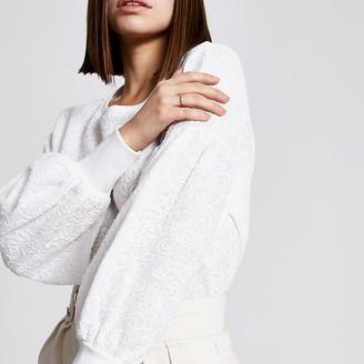 River Island Cream textured puff sleeve sweatshirt