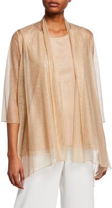 Caroline Rose Plus Size Twinkle Metallic Shimmer Mesh Cardigan