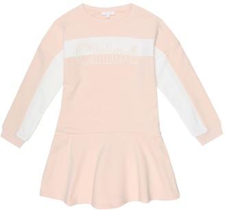 Chloé Kids Logo cotton-blend dress