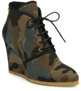 Giuseppe Zanotti Camo Lace-Up Desert Wedge Booties
