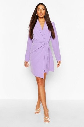 boohoo Tall Woven Ruched Side Tie Blazer Dress