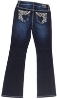 ZCO Dark Blue Swirl Embroidered Bootcut Jeans - Girls