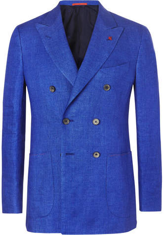Isaia Blue Unstructured Double-Breasted Mélange Linen Blazer