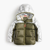 J.Crew Girls' colorblock marshmallow puffer jacket in metallic