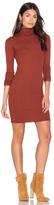 Enza Costa Rib Long Sleeve Turtleneck Mini Dress