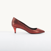Maje Leather court shoes with crackled effect