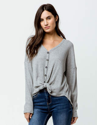 Sky And Sparrow Tie Front Heather Gray Womens Thermal