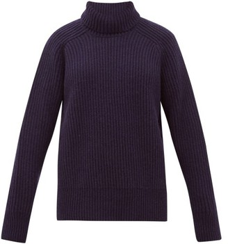 Ami Roll Neck Wool Sweater - Womens - Navy
