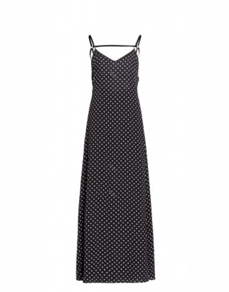 Boutique Moschino Polka Dots Crepe De Chine Long Dress
