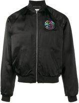 Saint Laurent shark embroidered bomber jacket - men - Cotton/Lamb Skin/Polyester/Viscose - 42