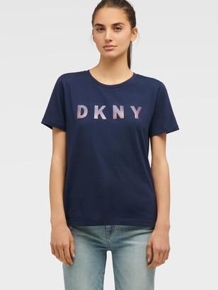 DKNY Women's Ombr Logo Tee - Ink/Moonstone Multi - Size XS
