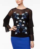 Thalia Sodi Mesh Embroidered Tiered-Sleeve Top, Created for Macy's