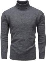 Mocotono Men's Turtleneck Long Sleeve Pullover Knit Cotton Sweater