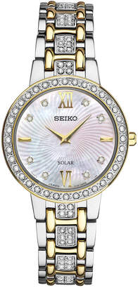 Seiko Women Dress Solar Two-Tone Stainless Steel Bracelet Watch 28mm SUP360