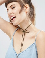 Asos Bow Choker Leaf Bolo Necklace