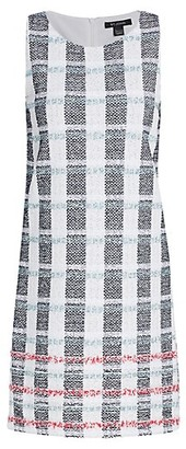 St. John Striped Tweed Shift Dress