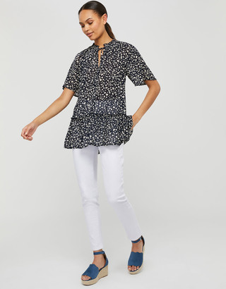 Monsoon Natalie Printed Blouse in Sustainable Viscose Blue