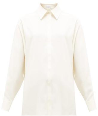 Raey Oversized Silk-crepe Satin-back Shirt - Womens - Ivory