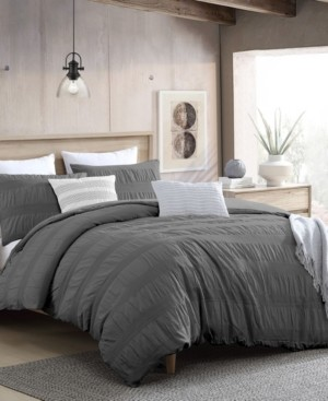 Swift Home Lush Moselle Cotton Ruched Waffle Weave 3 Piece Duvet Cover Set, California King Bedding