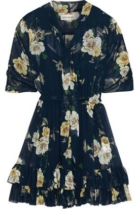 Nicholas Tie-neck Floral-print Chiffon Mini Dress