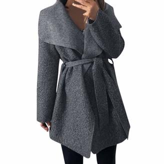 Kalorywee Women Irregular Lapel Neck Outwear Coat Cinch Waist with Belt Overcoat Cardigan Grey