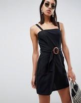 Asos Design DESIGN square neck linen mini sundress with wooden buckle & contrast stitch