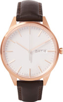 Uniform Wares - C40 Rose Gold Pvd-plated Stainless Steel And Leather Wristwatch