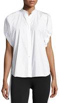 Helmut Lang Drawstring-Sleeve Cotton Poplin Top, White