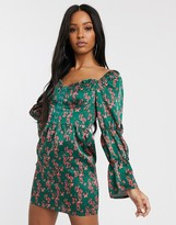 Saint Genies sweetheart neck corset mini dress with puff sleeves in multi floral