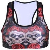 Lady Queen Women's Rose Skull Printed Impact Sport Bra for Running Yoga L