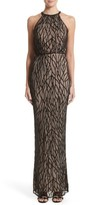 Rachel Gilbert Women's Toriana Beaded Mesh Gown