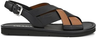 Prada Bi-Color Leather Slingback Sandals