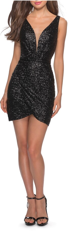 La Femme Deep V Sequin Minidress