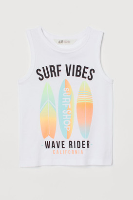 H&M Tank Top with Printed Design - White